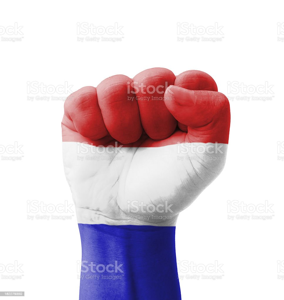 Fist of Netherlands flag painted, multi purpose concept stock photo