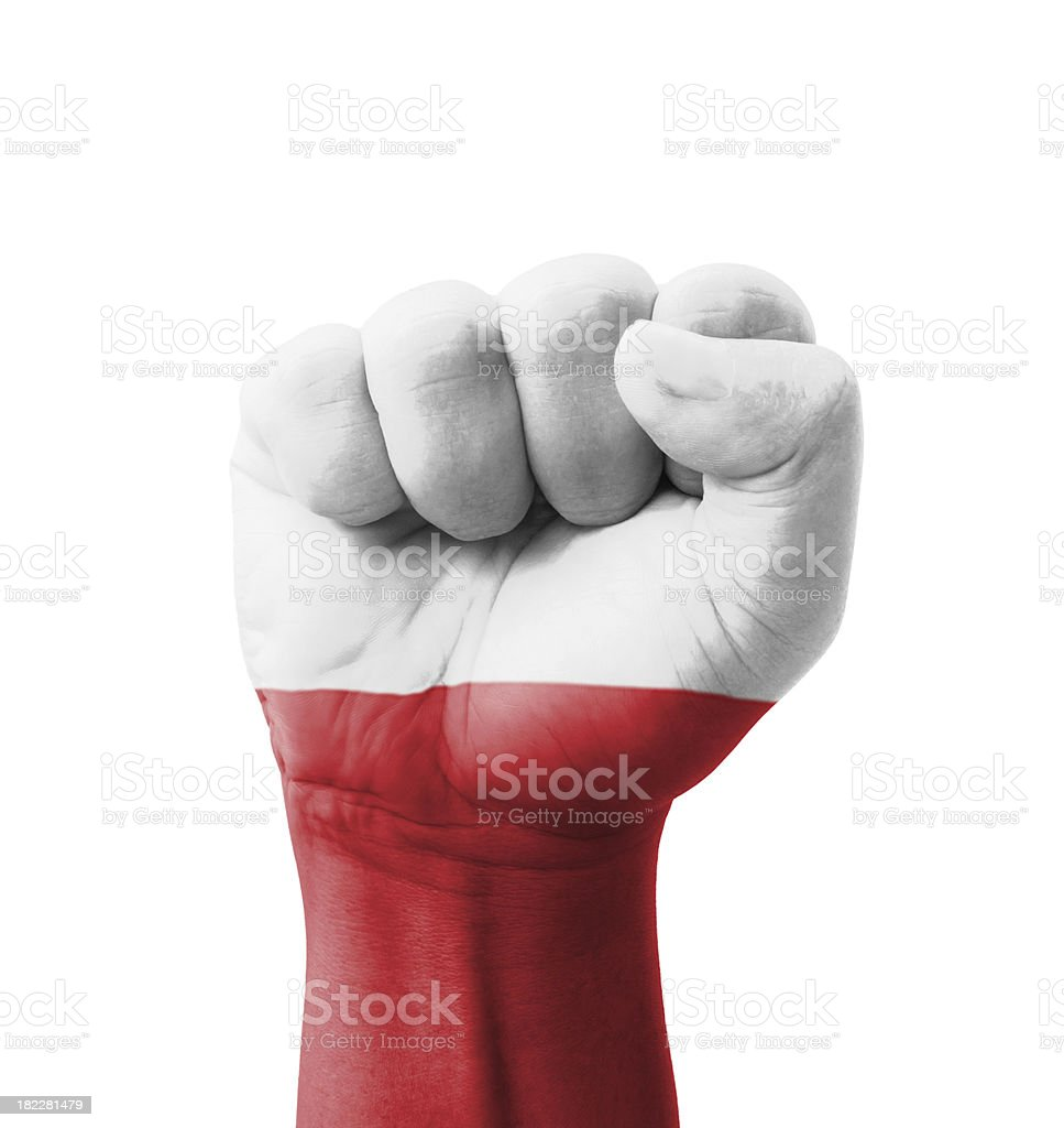 Fist of Poland flag painted, multi purpose concept stock photo