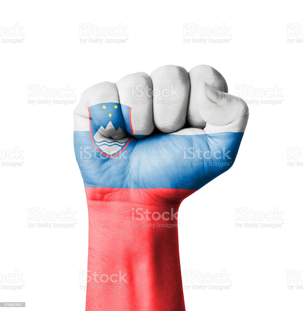 Fist of Slovenia flag painted stock photo