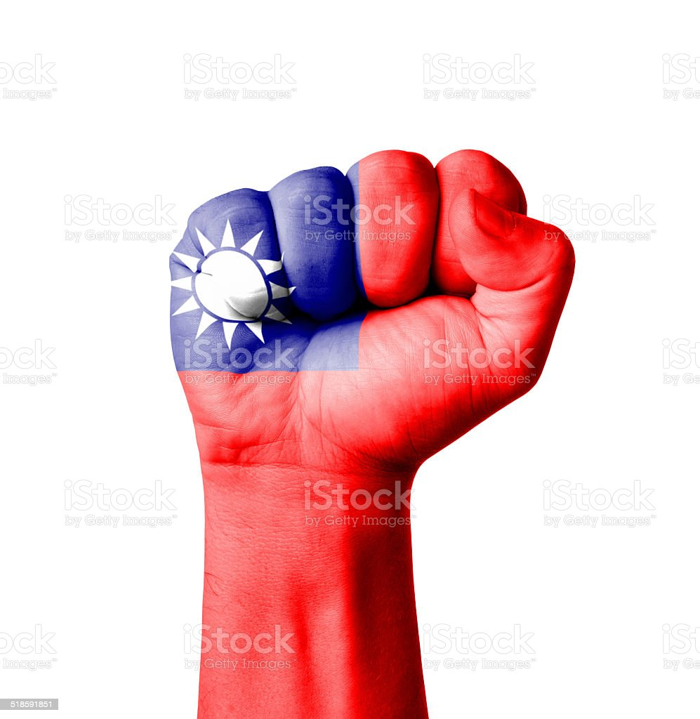 Fist of Taiwan flag painted stock photo