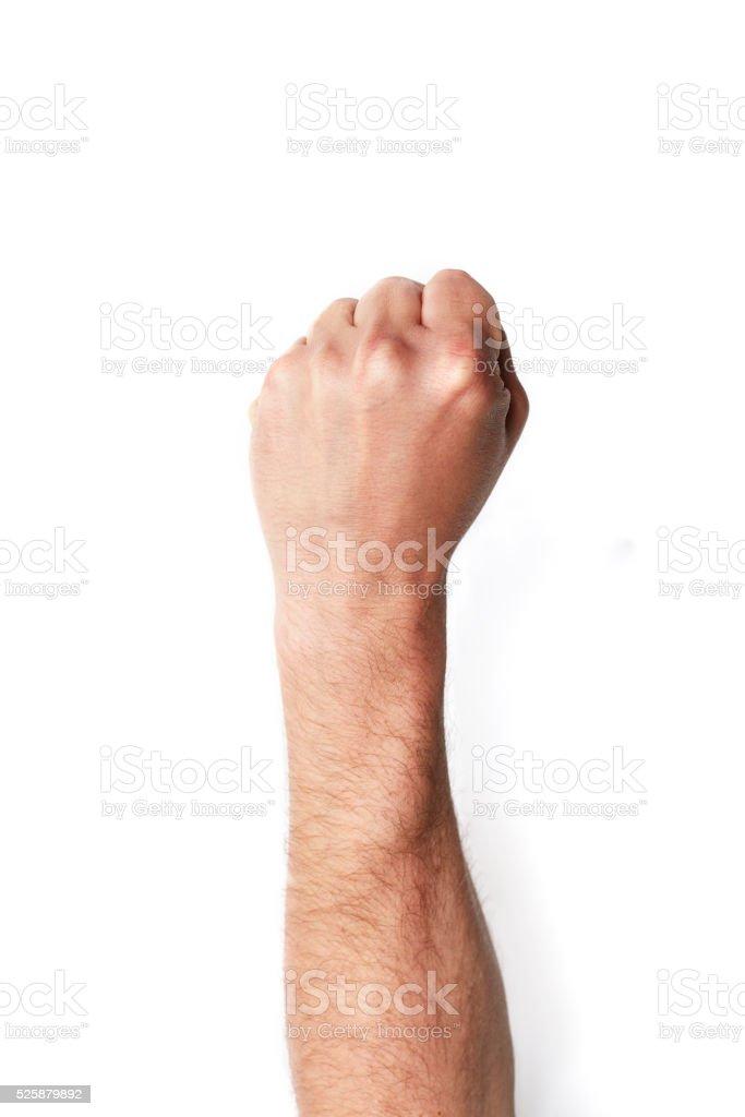 Fist on white background stock photo