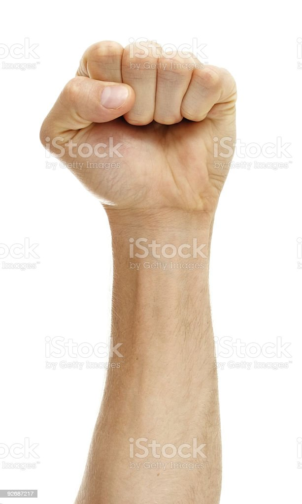 Fist on white background stock photo