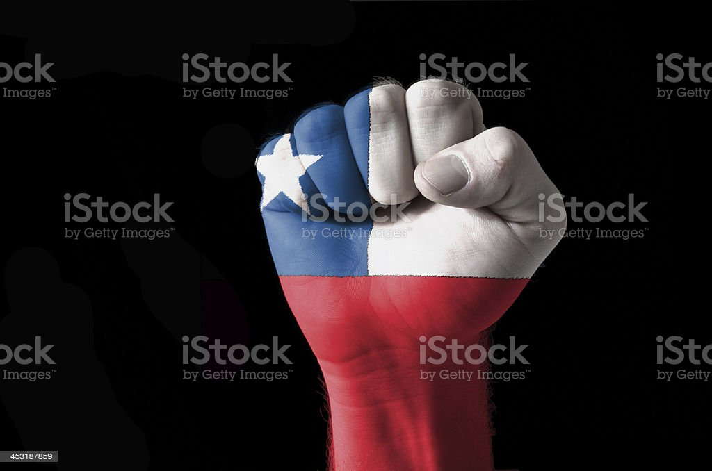 Fist painted in colors of chile flag stock photo