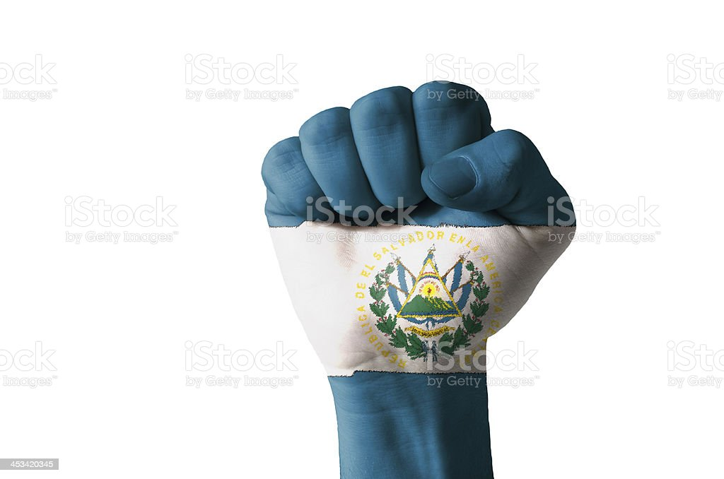 Fist painted in colors of el salvador flag stock photo
