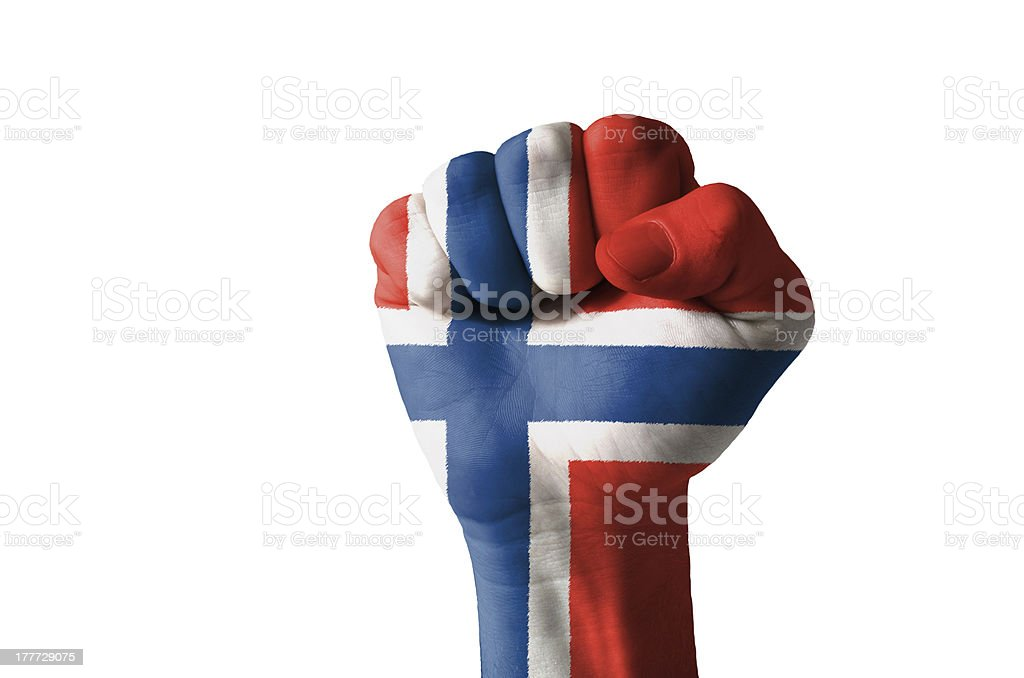 Fist painted in colors of norway flag stock photo