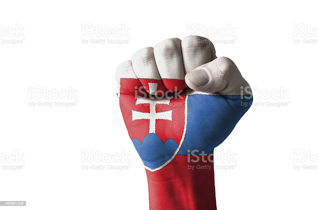 Fist painted in colors of slovakia flag royalty-free stock photo