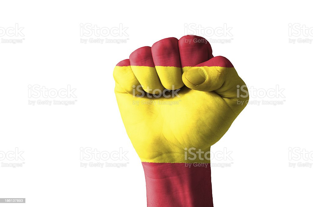 Fist painted in colors of spain flag stock photo