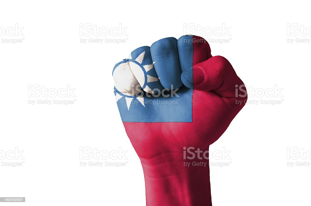 Fist painted in colors of taiwan flag stock photo