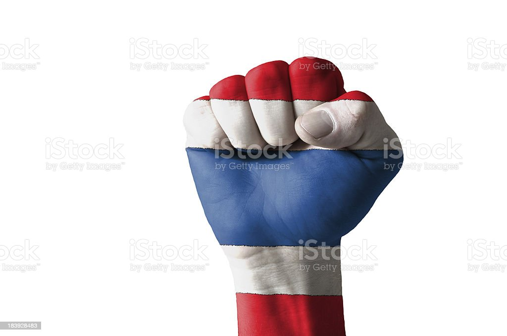 Fist painted in colors of thailand flag royalty-free stock photo