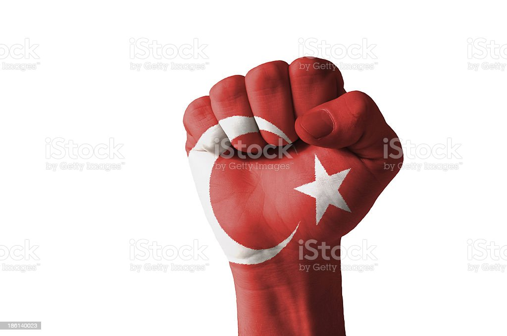 Fist painted in colors of turkey flag royalty-free stock photo