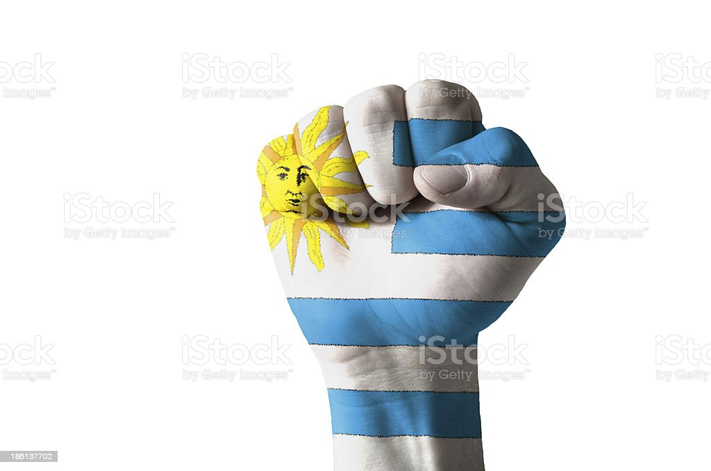 Fist painted in colors of uruguay flag royalty-free stock photo