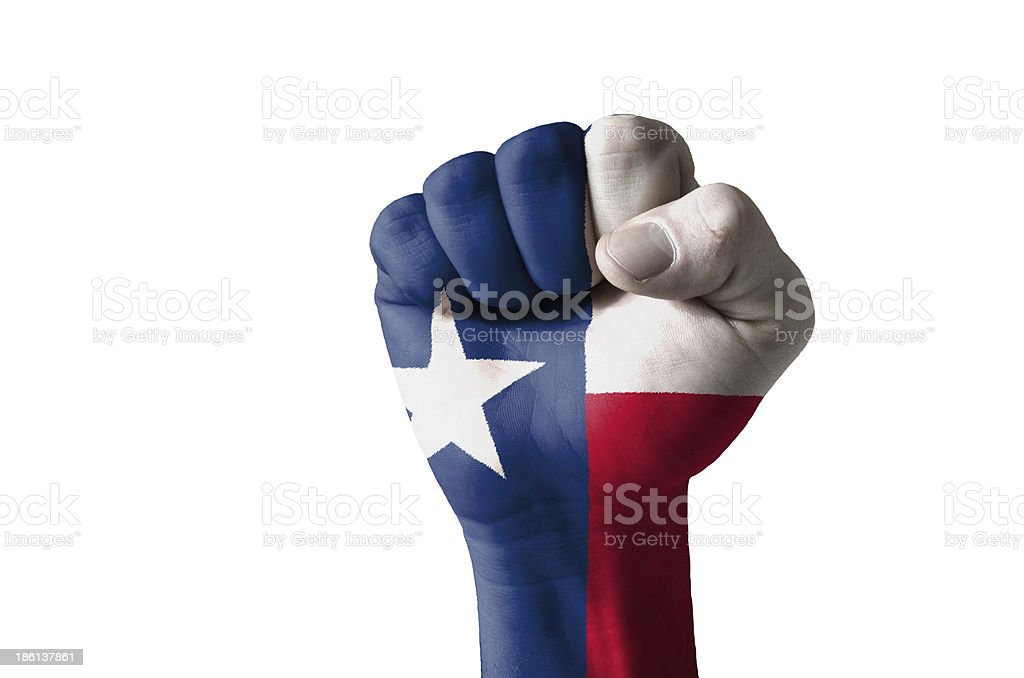 Fist painted in colors of us state texas flag stock photo