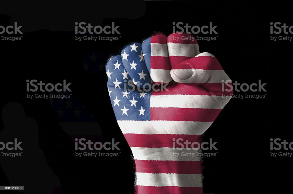 Fist painted in colors of usa flag royalty-free stock photo