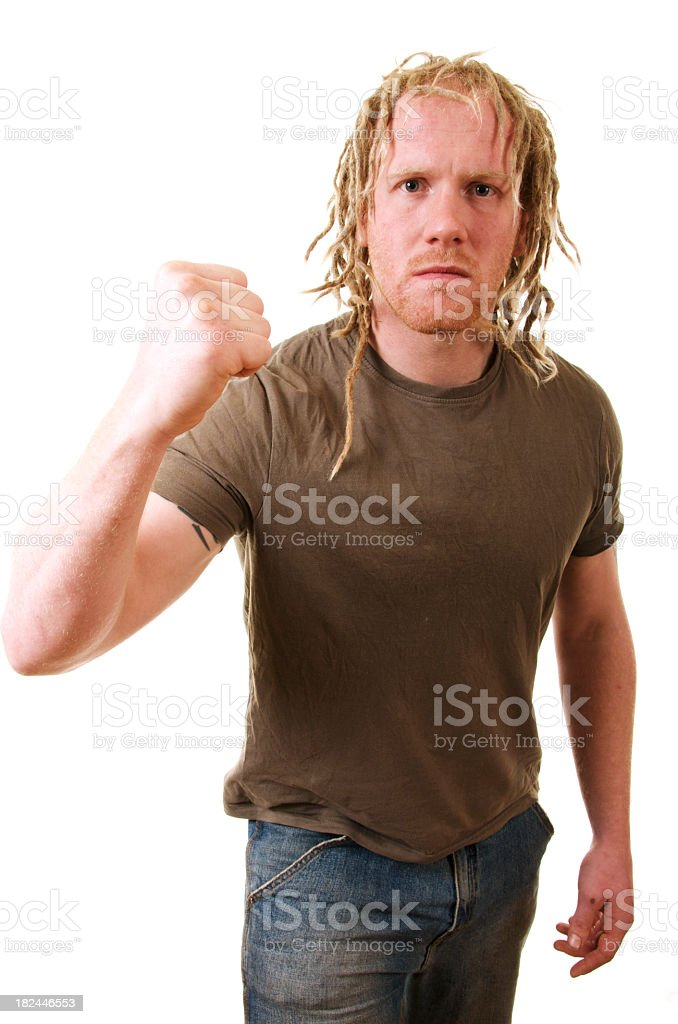 Fist Raised in Anger royalty-free stock photo