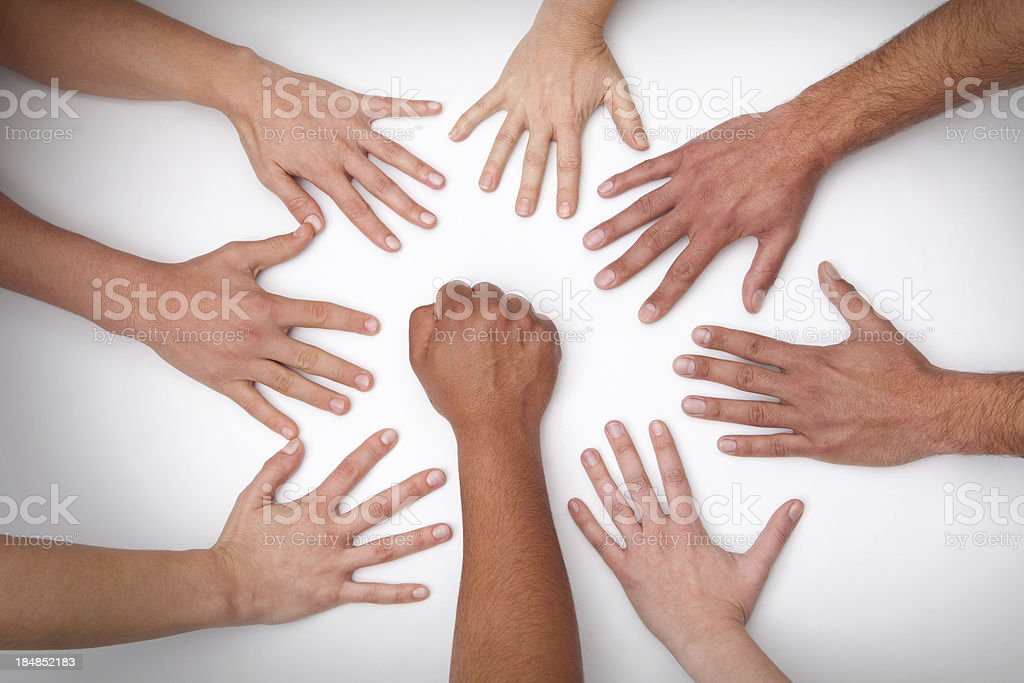 Fist with 7 hands royalty-free stock photo