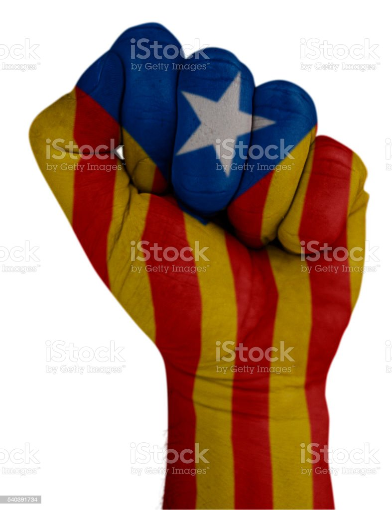Fist with Catalonia flag stock photo