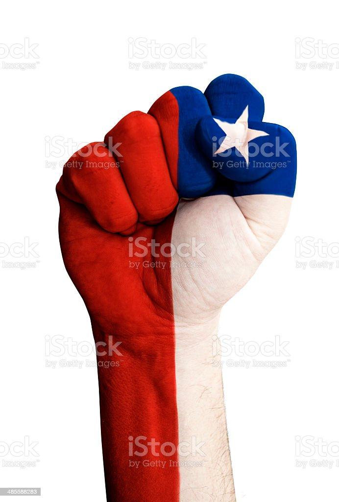 Fist with flag of Chile stock photo