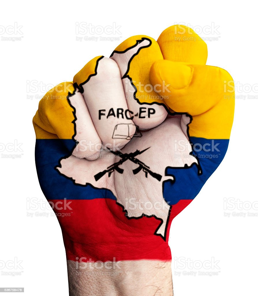 Fist with flag of  FARC-EP stock photo
