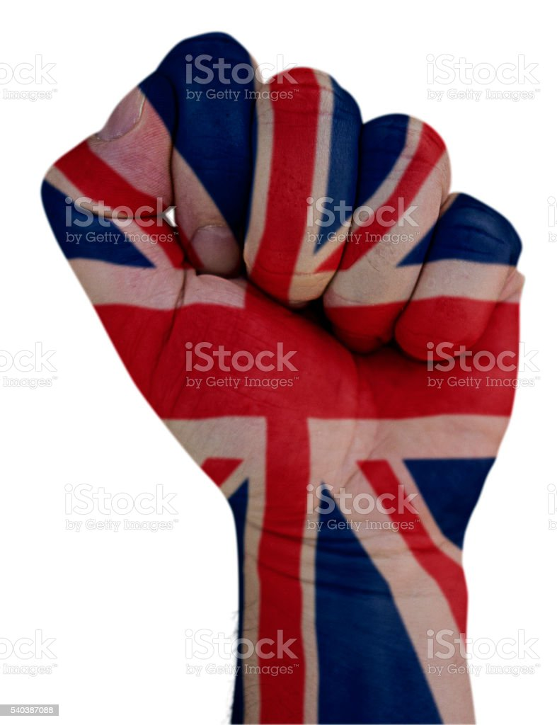 Fist with Union Jack flag stock photo