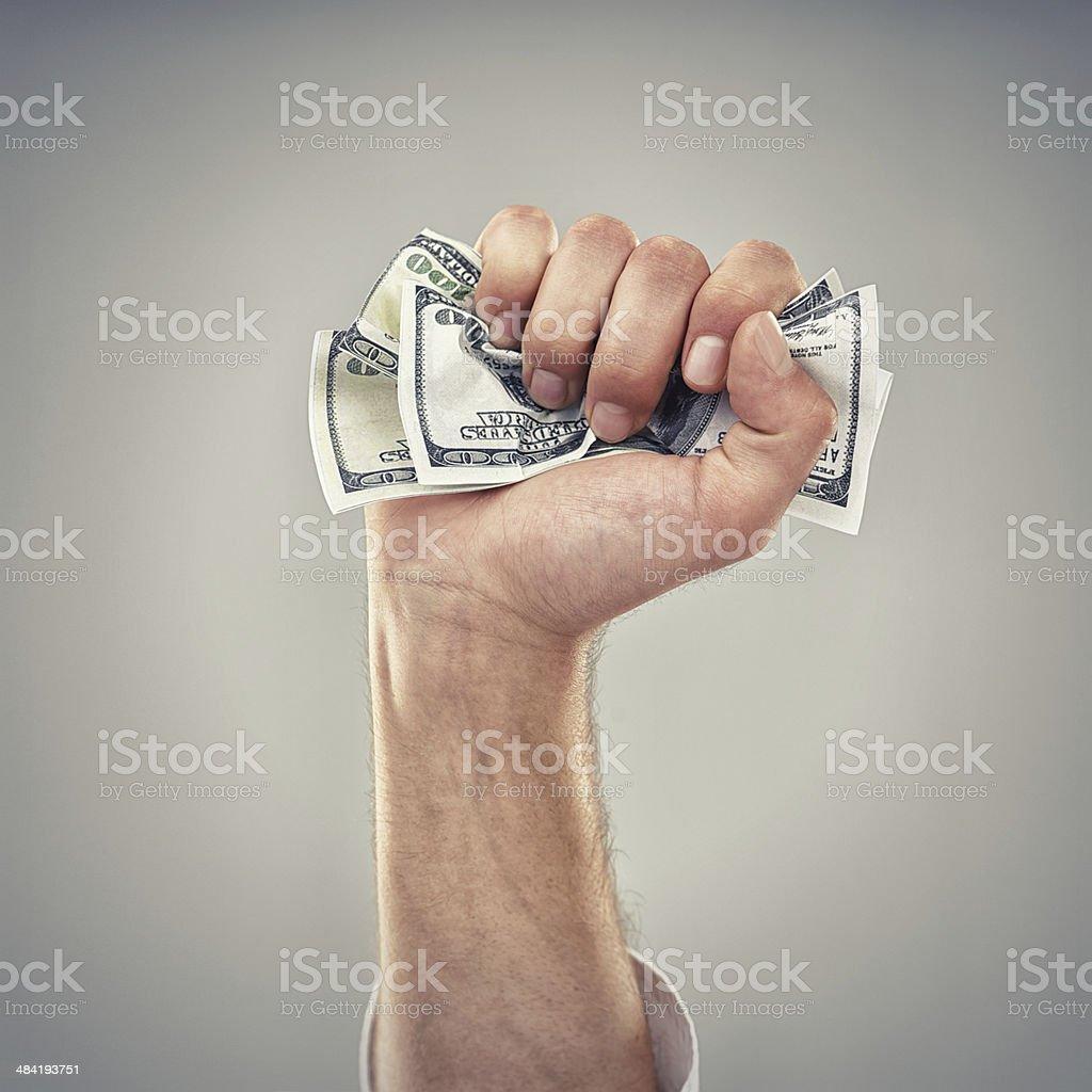 Fistfull of dollars! stock photo