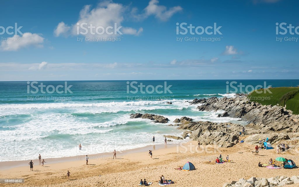 Fistral beach, Cornwall, England in summer. stock photo