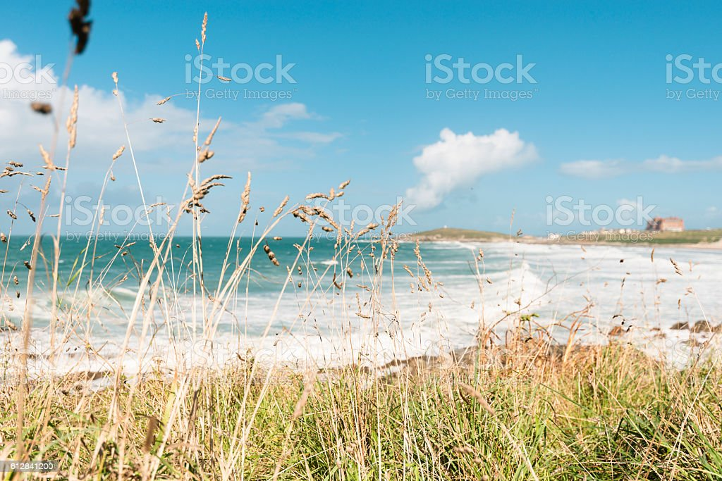 Fistral Beach, Newquay, Cornwall on a bright late September day. stock photo