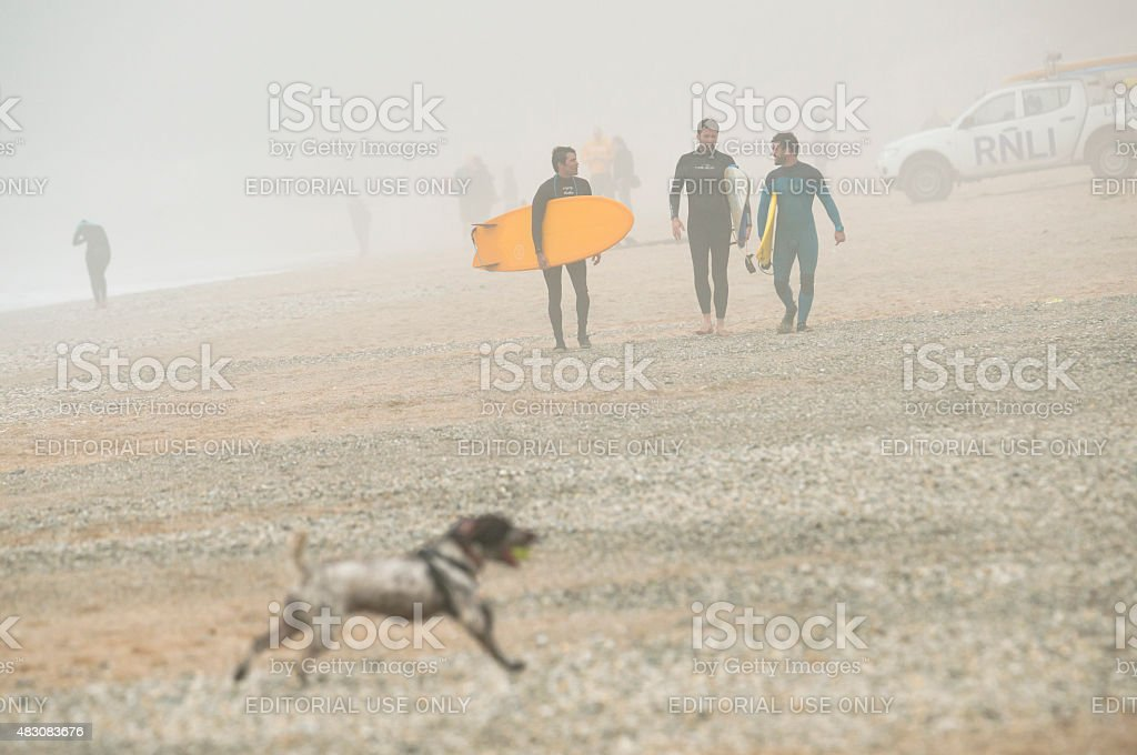 Fistral Beach, Newquay, Cornwall on covered with sea mist. stock photo