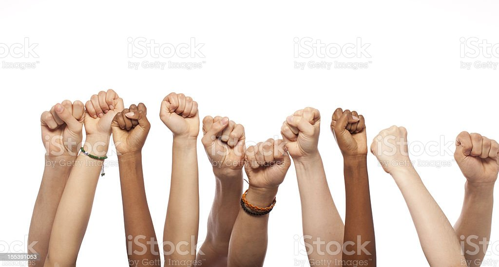 Fists Hands Raised royalty-free stock photo