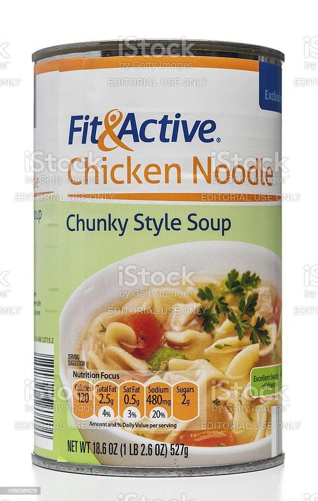 Fit & Active chicken noodle chunky style soup can stock photo