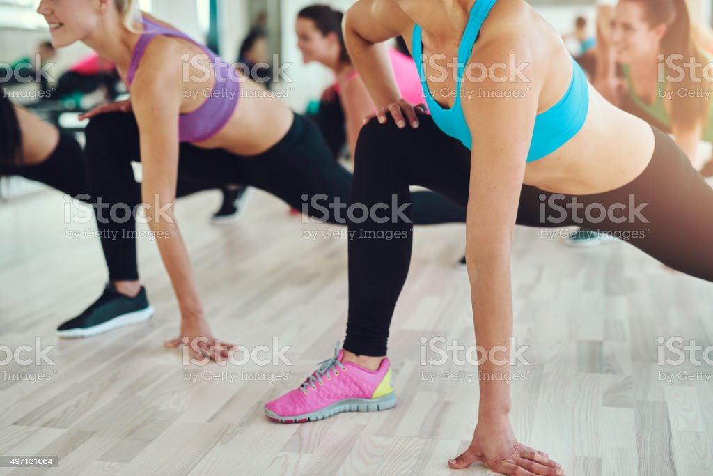 Fit and healthy women in a fitness class stock photo
