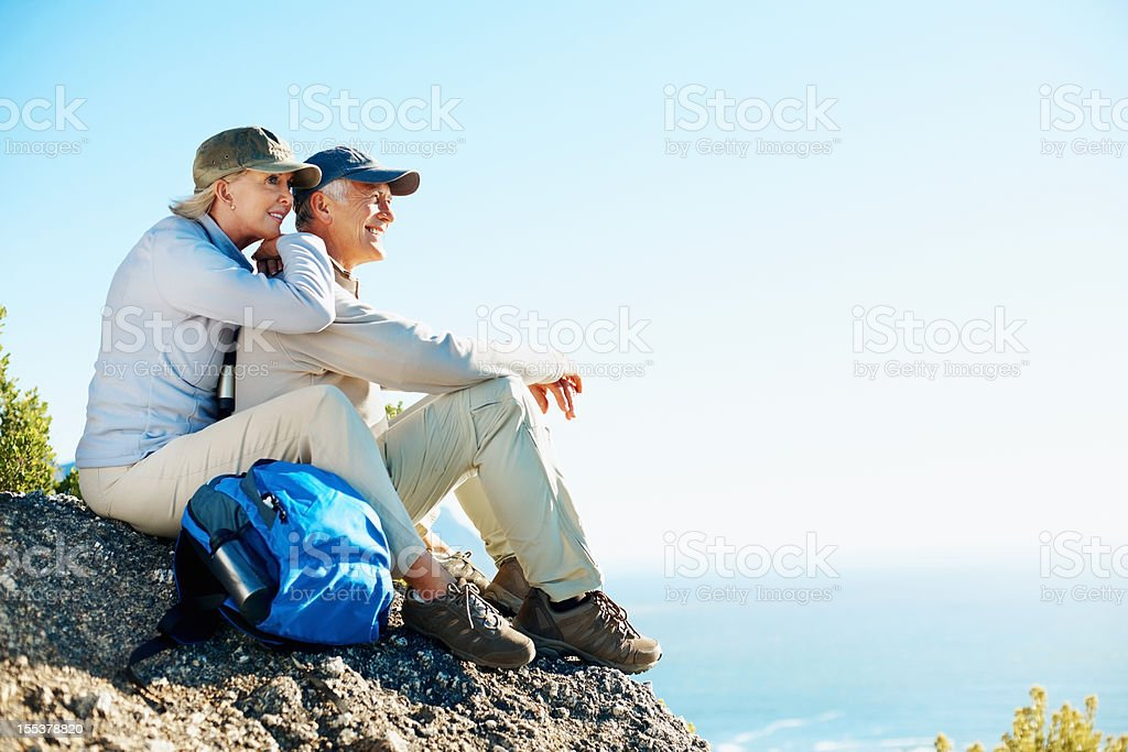 Fit and strong to enjoy our favouite hiking trails stock photo