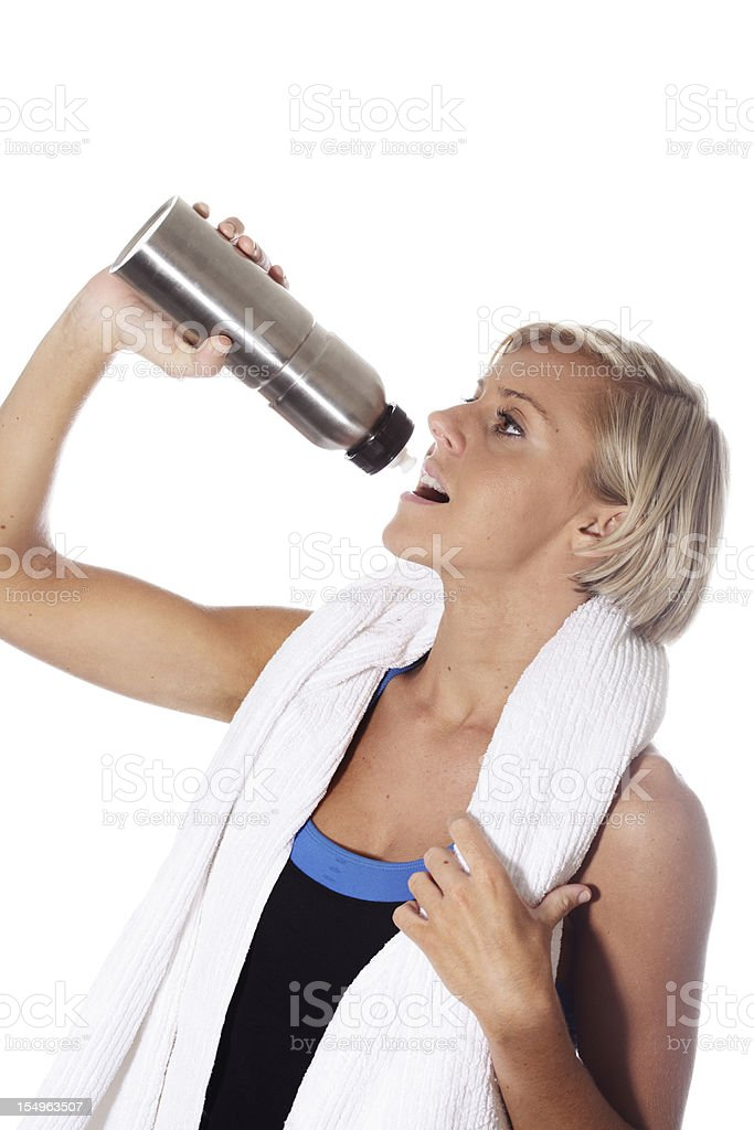 Fit Blonde Girl With Water stock photo