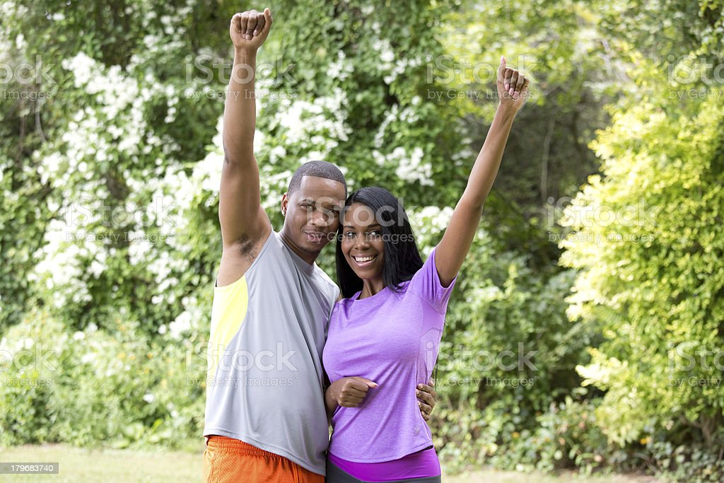 fit couple cheering royalty-free stock photo