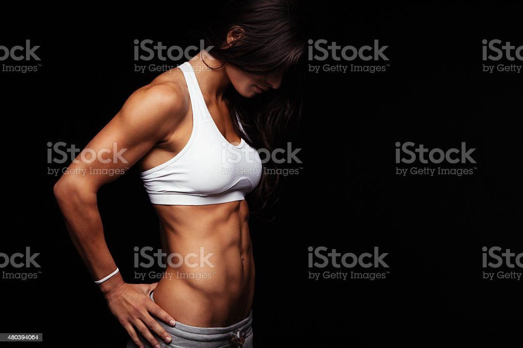 Fit female model with perfect torso stock photo
