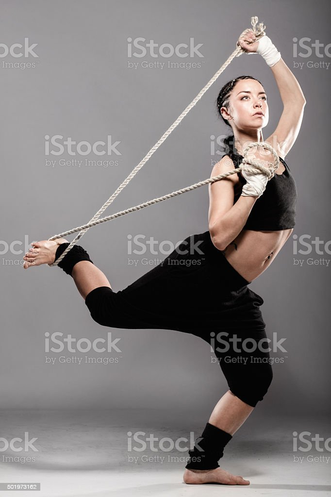 fit girl with a rope stock photo