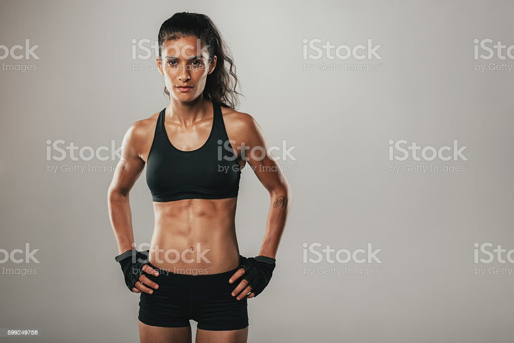 Fit healthy young woman with a toned physique stock photo