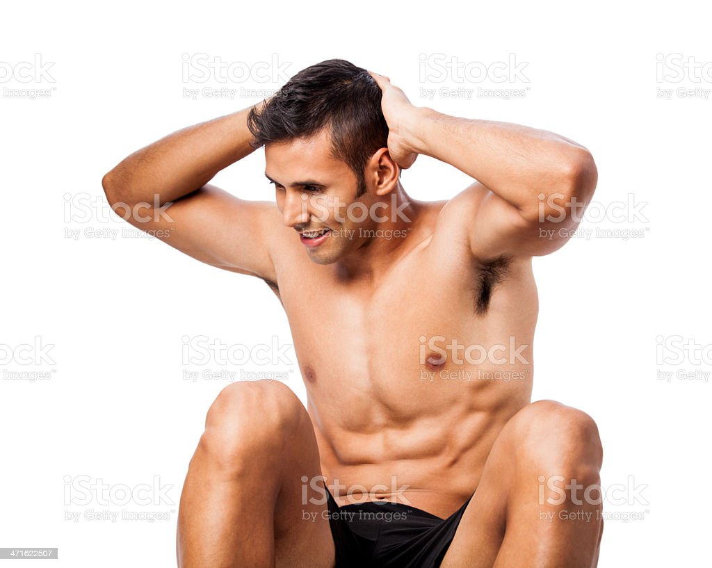 fit man doing sit ups royalty-free stock photo