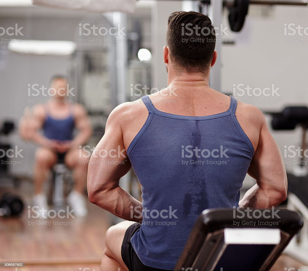Fit man preparing for workout stock photo