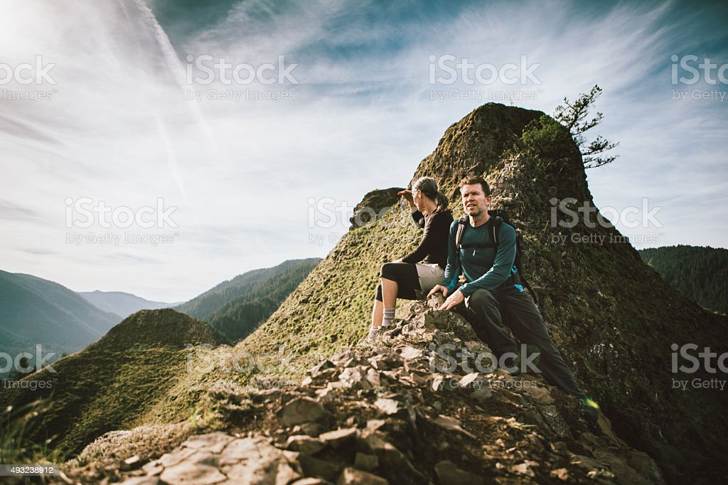 Fit Mature Adults on Mountain Top stock photo