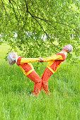 fit senior couple exercising