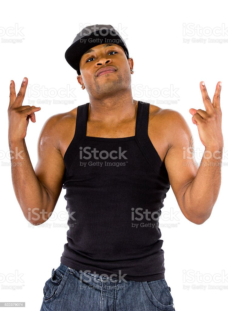 Fit urban male with Peace Sign stock photo