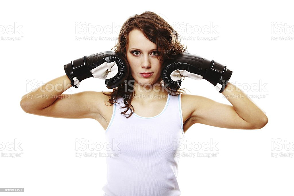 Fit woman boxing - isolated over white royalty-free stock photo