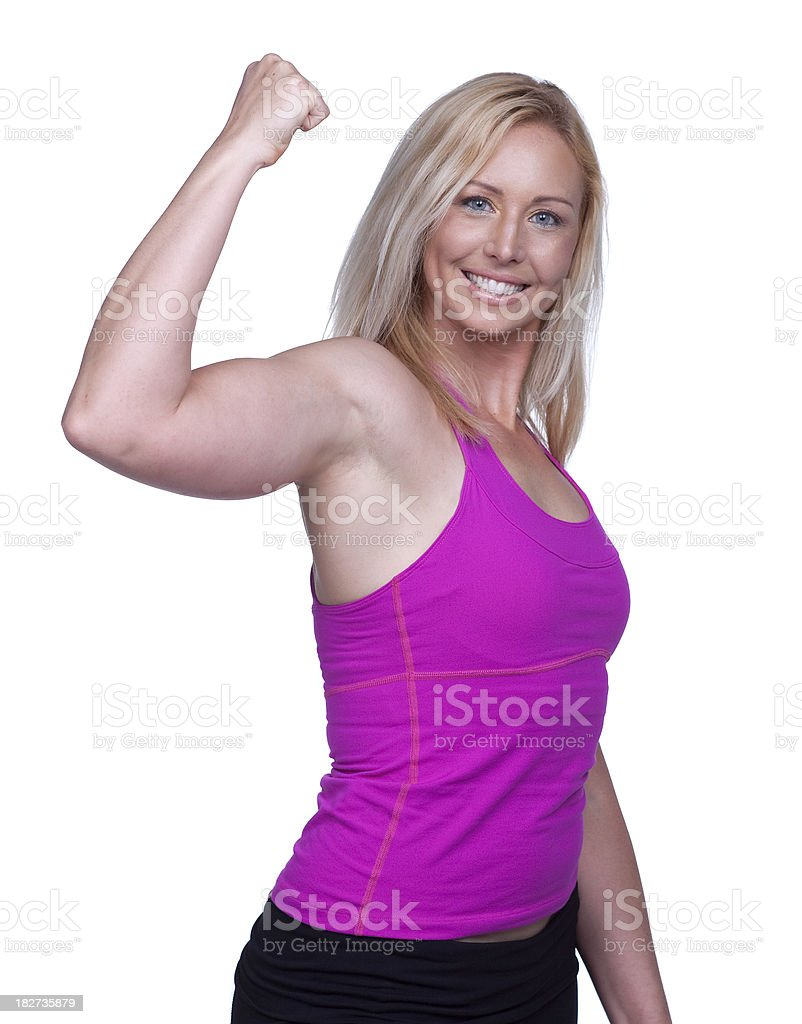 Fit woman flexing muscles royalty-free stock photo