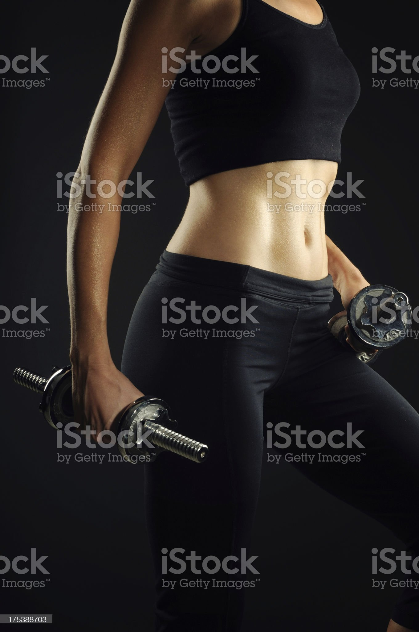 Fit Woman on With Dumbell royalty-free stock photo