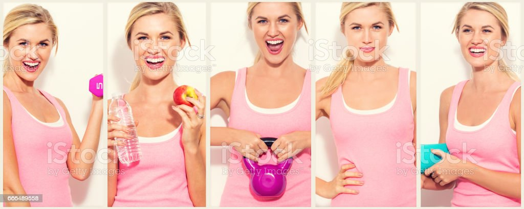Fit woman photo collage stock photo