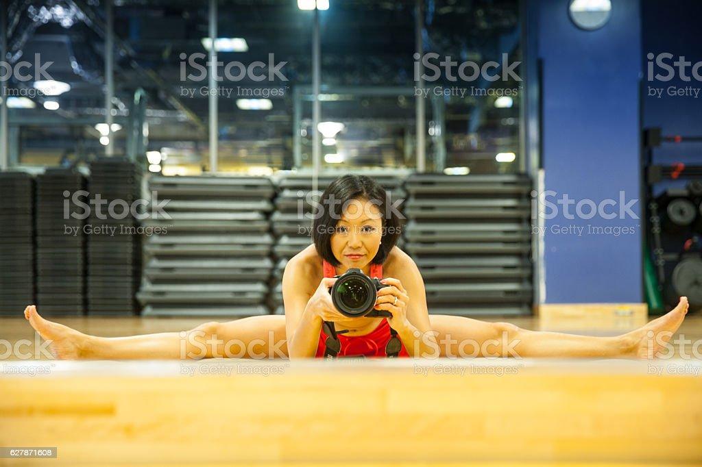Fit woman Selfie stock photo