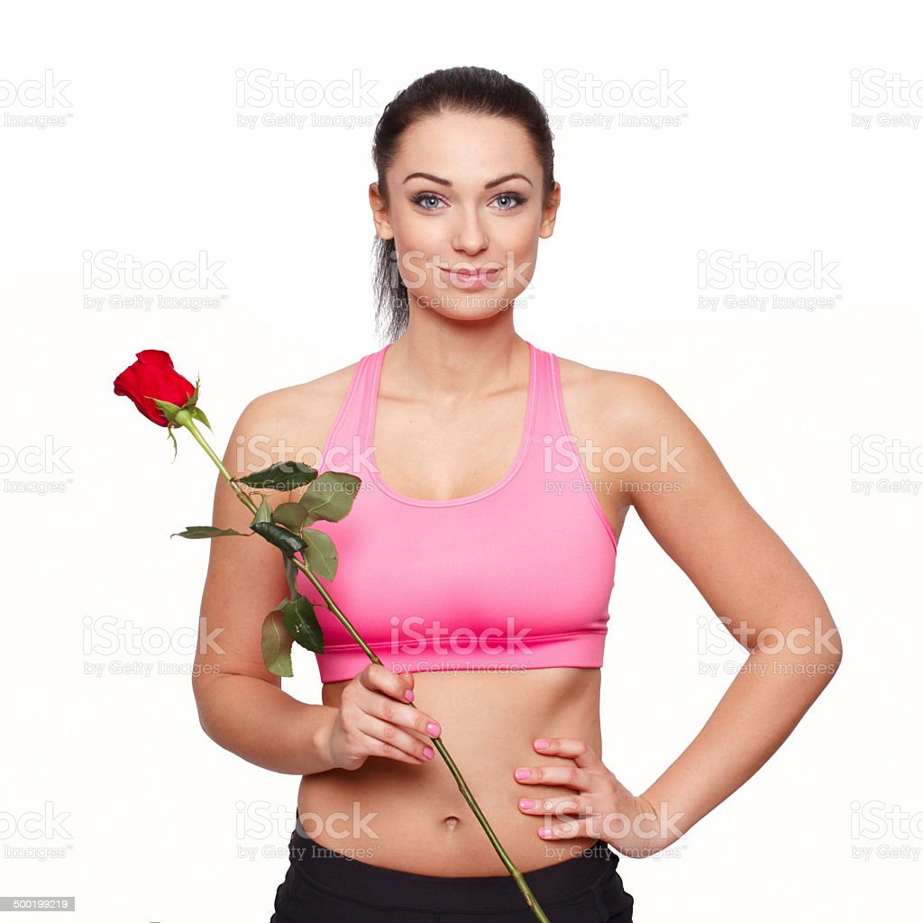 Fit woman with rose royalty-free stock photo