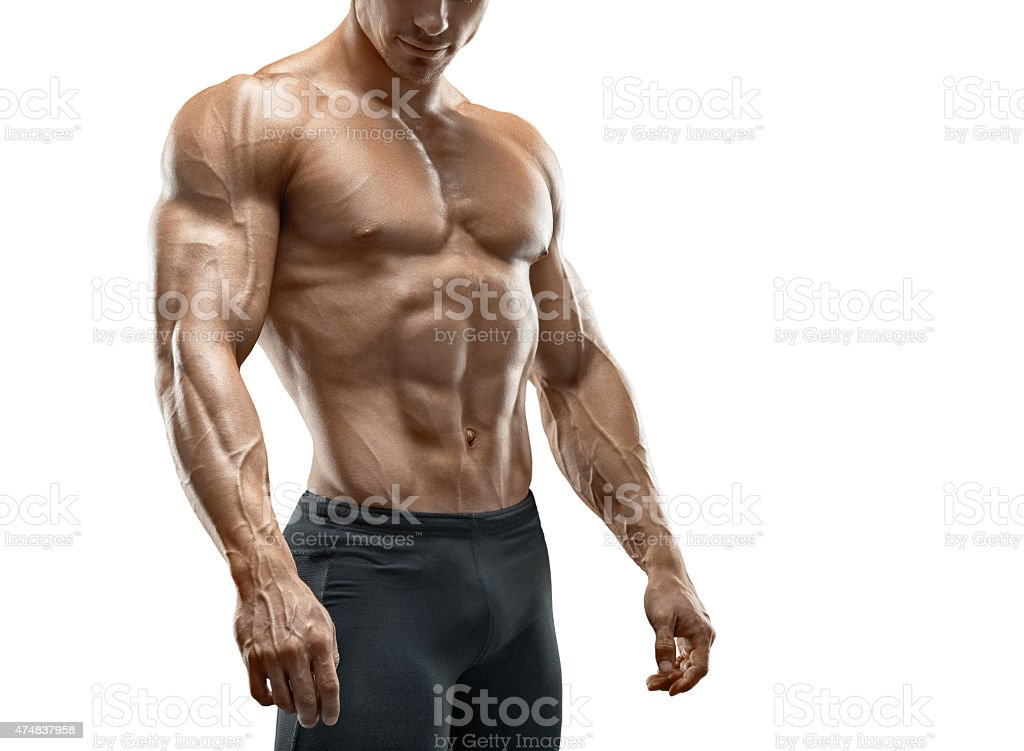 Fit young bodybuilder isolated on white background stock photo