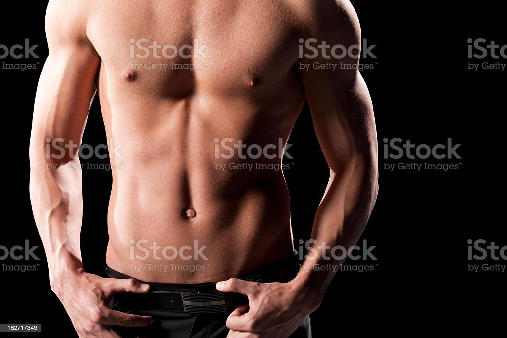 Fit Young Man's Bare Torso royalty-free stock photo