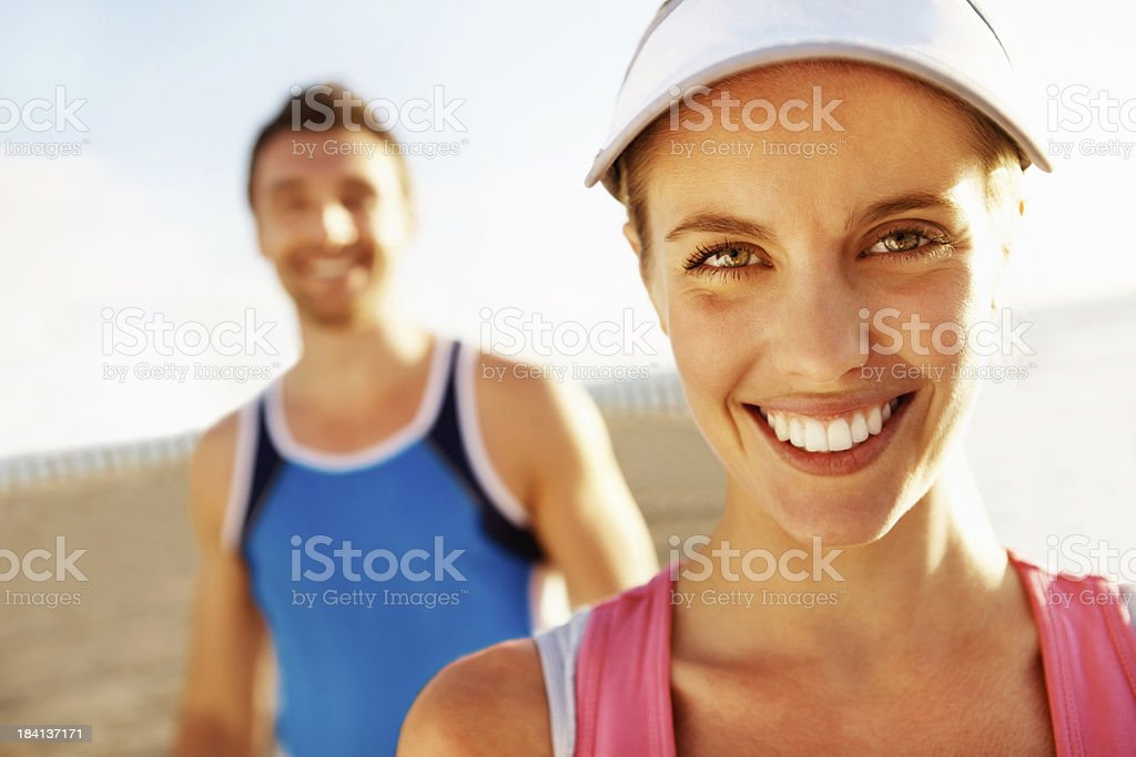 Fit young woman smiling royalty-free stock photo